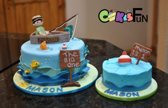 Enjoyable First Birthday Fishing Cake With Images Fish Cake Birthday Personalised Birthday Cards Cominlily Jamesorg