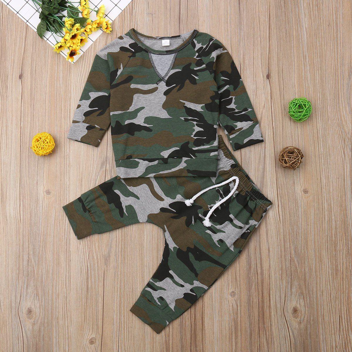 6722cc8c0ce1e 0-24M Newborn Baby Boys Camo T-shirt Tops +Long Pants Outfit Kids Clothes  Set Camouflage suit