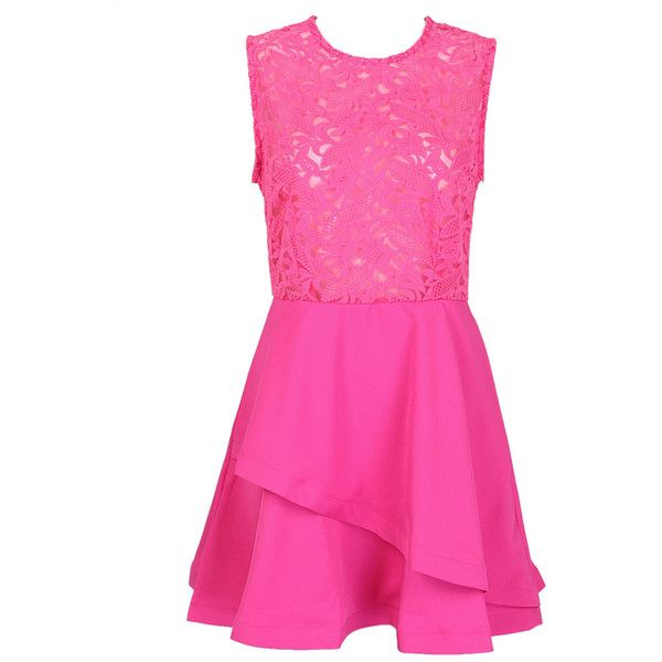 Choies Hot Pink Sheer Crochet Lace Panel Sleeveelss Layered Skater... (€27) ❤ liked on Polyvore featuring dresses, pink, sheer dress, see through dress, sheer skater dress, pink dress and hot pink skater dress