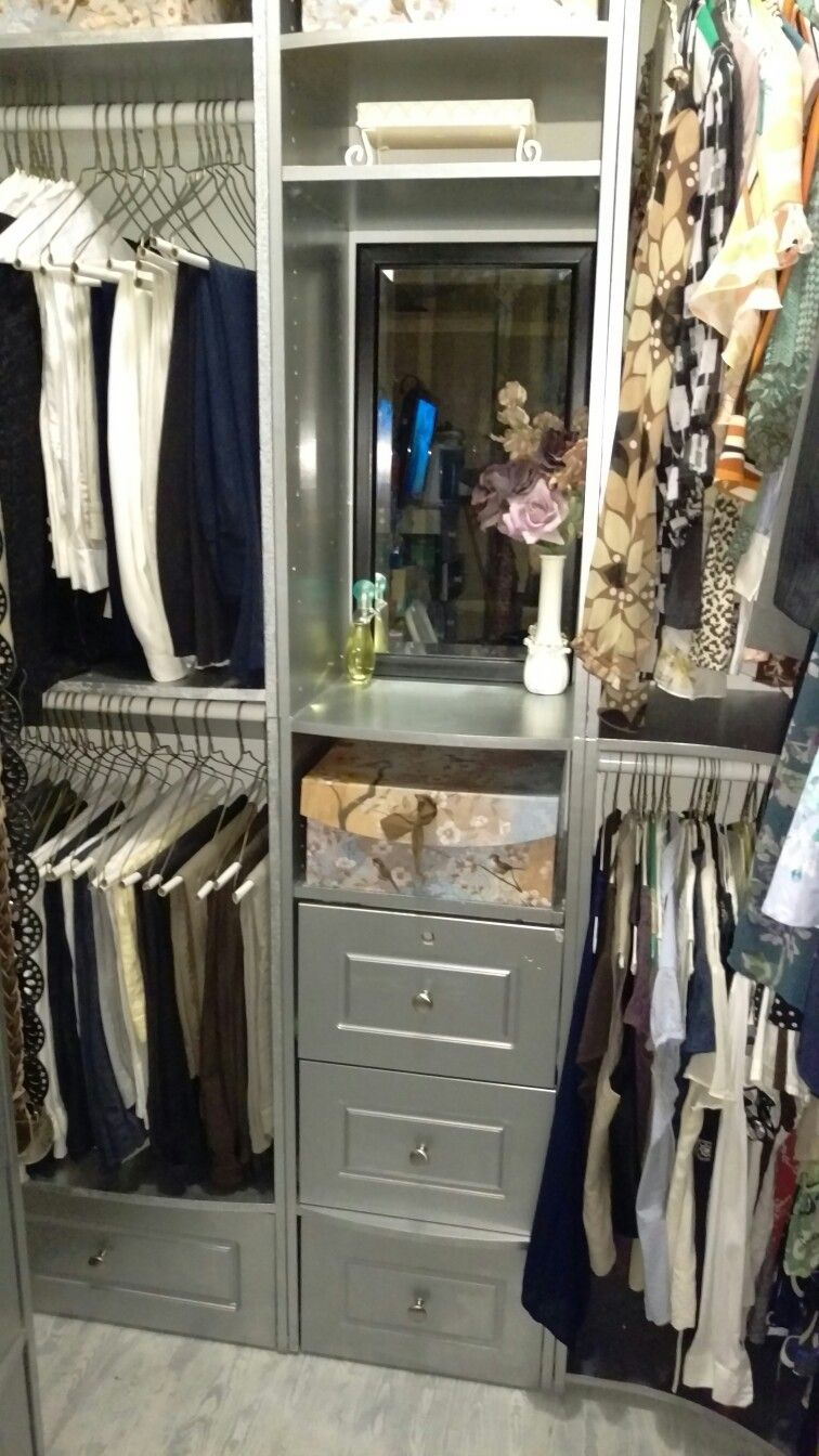 Small closet makeover. Silver paint!