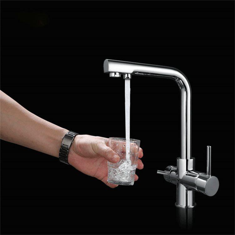 洗面蛇口 バス水栓 台所蛇口 冷熱混合水栓 2吐水口 回転可能 クロム 1015
