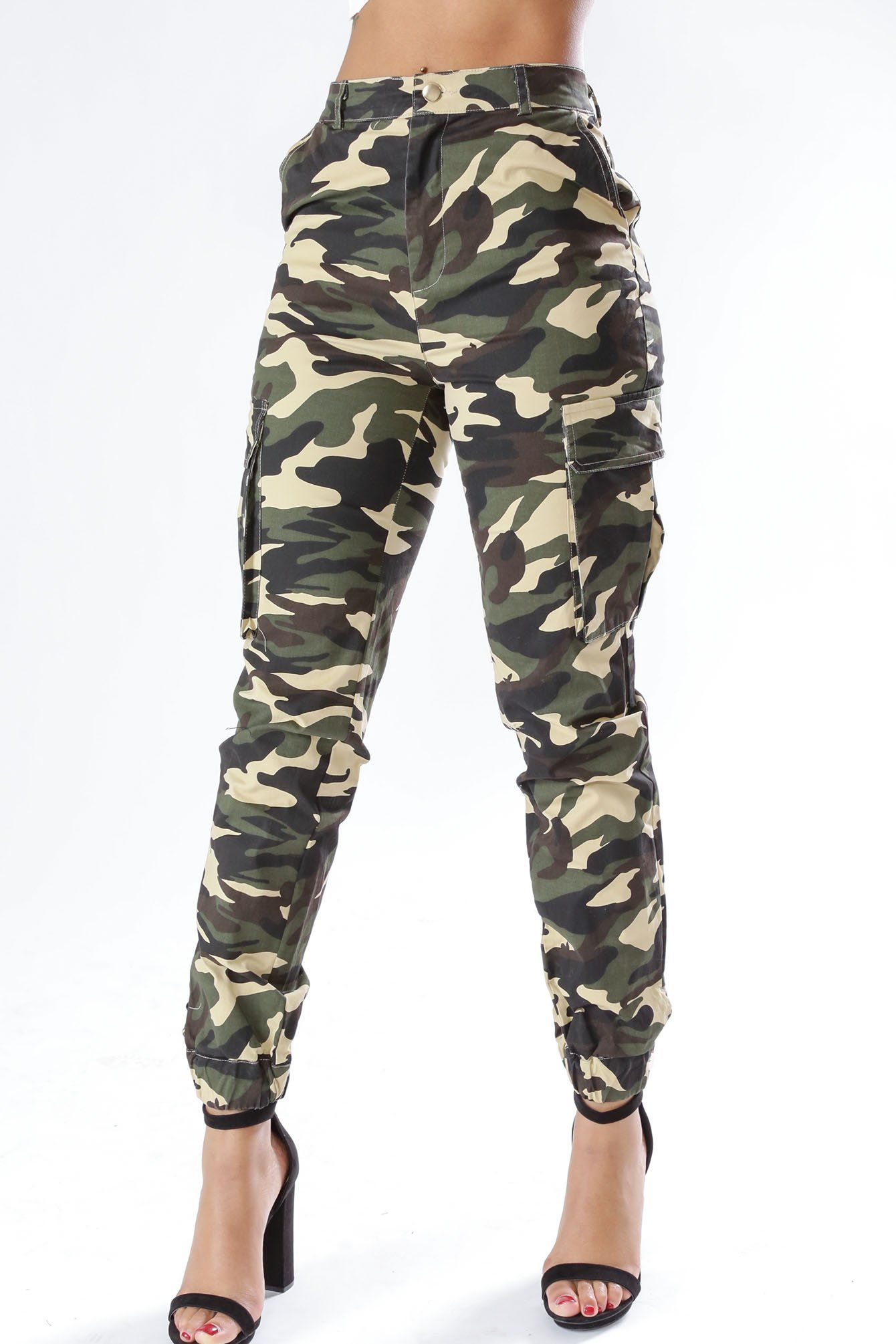 ab10a270698 Shadow Camo High Waisted Cargo Jogger Pants in 2019
