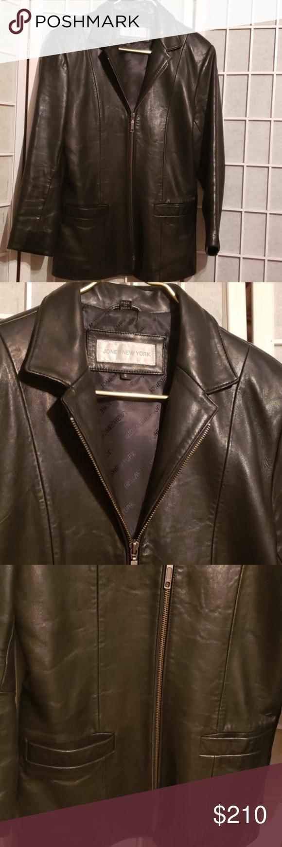 Jones New York Black Leather Zip Jacket Sz S Jones New York Black Leather Zipper Closure Jacket Sz S Previously Worn Wel Zip Jackets Jones New York Jackets [ 1740 x 580 Pixel ]