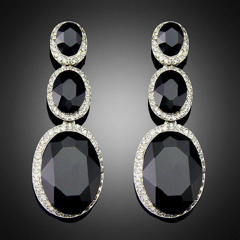 Costume Brincos for Women Vintage Design Antique Platinum Plating Black Alloy BlImitation Big Drop Earrings