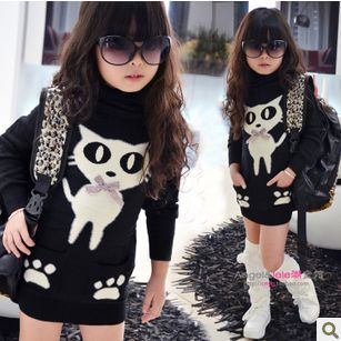 2014 Fashion Girl Sweater Pullover for children Winter Casual cartoon cat print black turtleneck long warm sweater for kids