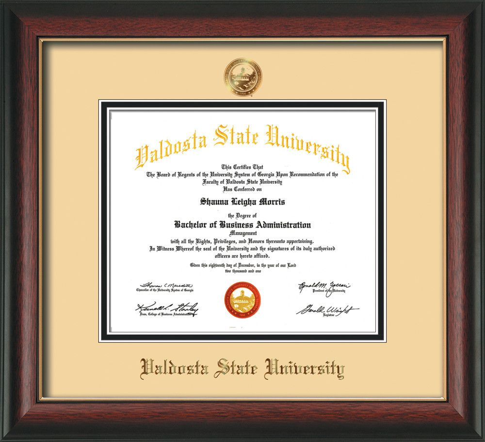 Valdosta State U Diploma Frame-Rosew Gold L-w/VSU Seal-Off-White ...