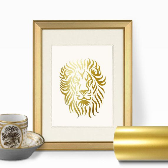 Lion Face Gold Foil Wall Art Print Real Faux by RetroArtPrints ...