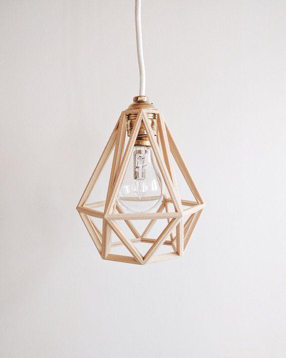 Industrial Vintage Suspension Light Shade Pendant Light Cage Wooden 3d Printed Diamond Hangeleuchte Retro Industrial Lampenschirm