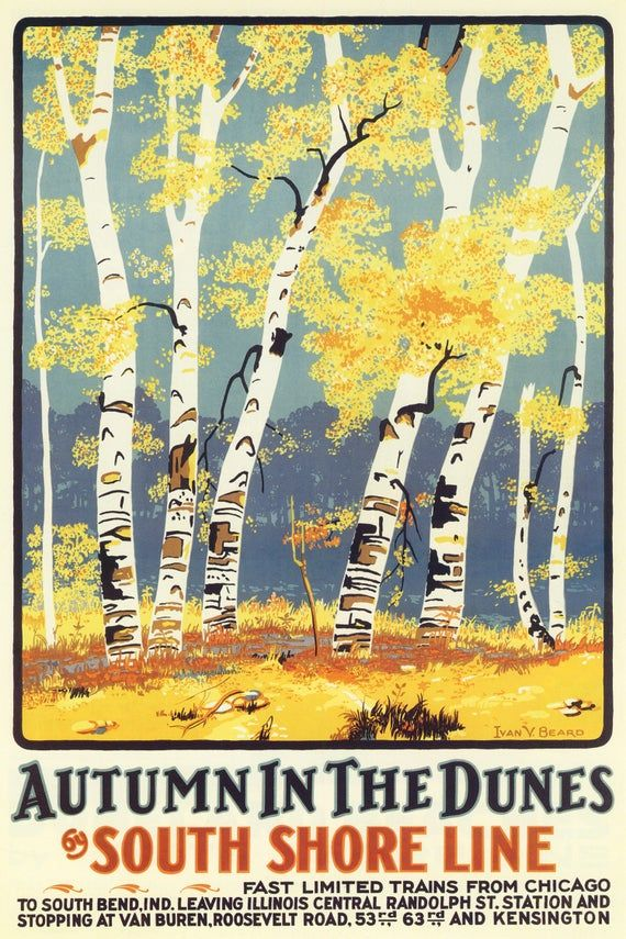 Photo of Autumn in the Dunes South Shore Line Trains from Chicago USA Travel Tourism Vintage Poster Repro FREE Shipping in USA Shipped Rolled-Up