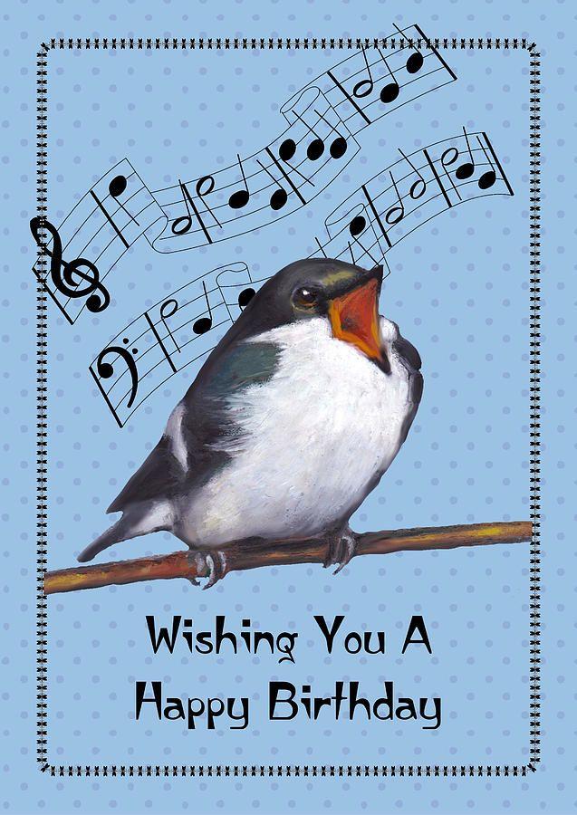 Birthday Pastel Singing Bird Birthday Card By Joyce Geleynse Happy Birthday Birds Singing Birthday Cards Happy Birthday Music Notes