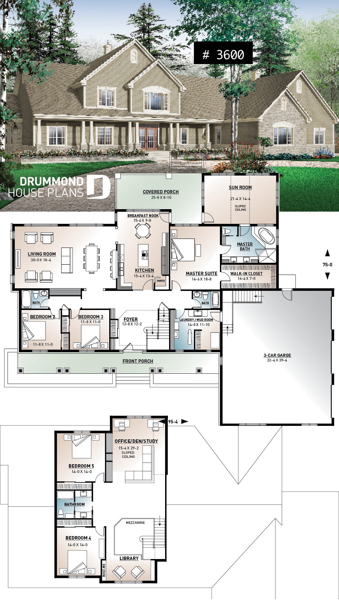 Discover The Plan 3600 Robertsdale Which Will Please You For Its 5 6 Bedrooms And For Its Ranch Styles Garage House Plans Ranch House Plans New House Plans