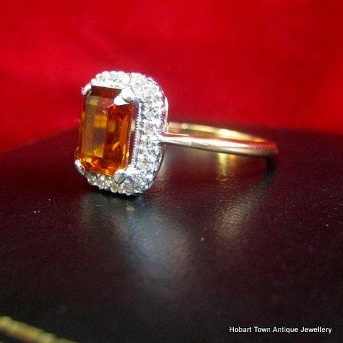 Engagement Rings Hobart: Stunning Art Deco Citrine & Diamond 18ct Gold Ring