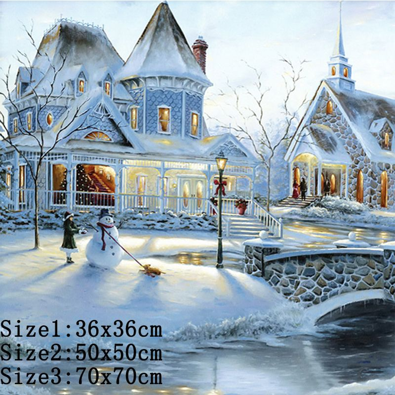 5D DIY Full Drill DIY  Diamond Painting Snow House Cross Stitch Arts Wall Decors