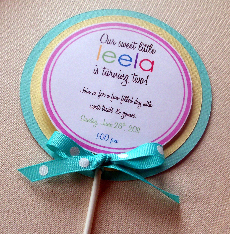 Sweet Lollipop Invitations - (turquoise, pink, yellow ...