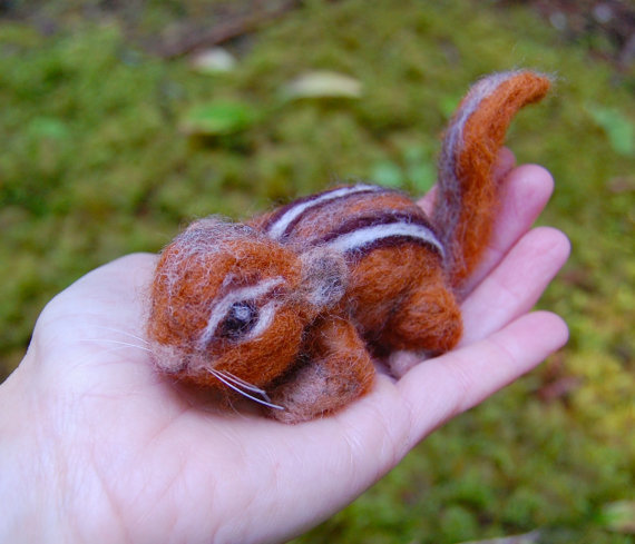 Needle Felted Chipmunk. Chipmunk Felted. Wool Felt Chipmunk. Baby Chipmunk Life Sized. Needle Felted
