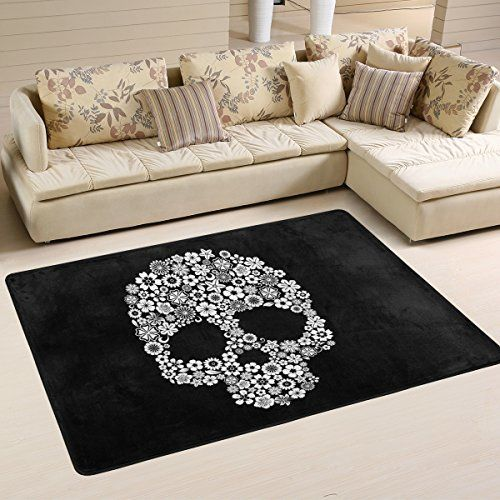 beautiful floral sugar skulls day of the dead halloween decorations area rug pad non slip kitchen floor mat for living room bedroom 4 x 6 doormats home