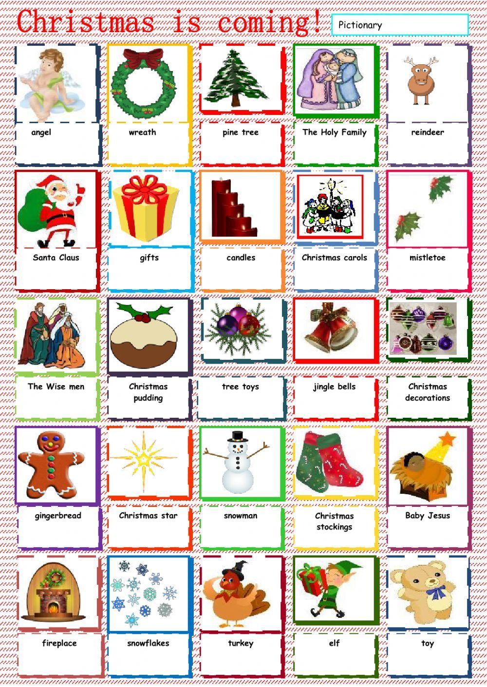 Christmas Vocabulary Interactive worksheet Cosas de la
