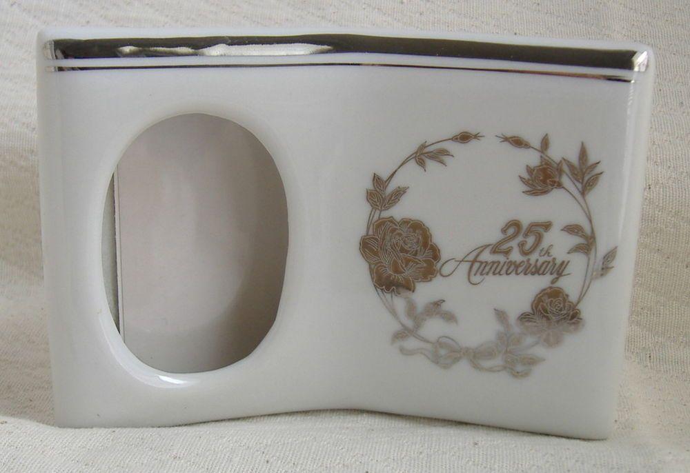 25th Anniversary Norcrest ceramic picture frame white silver trim single #Norcrest