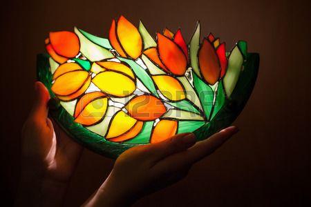 Lampada Fiore Tulipano : Handmade lampada in vetro colorato con i fiori di tulipani nella