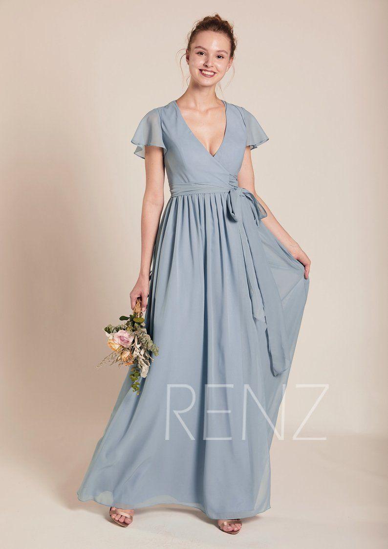 Bridesmaid Dress Dusty Blue Chiffon Dresswedding Dressv Neck Etsy Dusty Blue Bridesmaid Dresses Prom Dresses With Sleeves Blue Chiffon Dresses [ 1123 x 794 Pixel ]