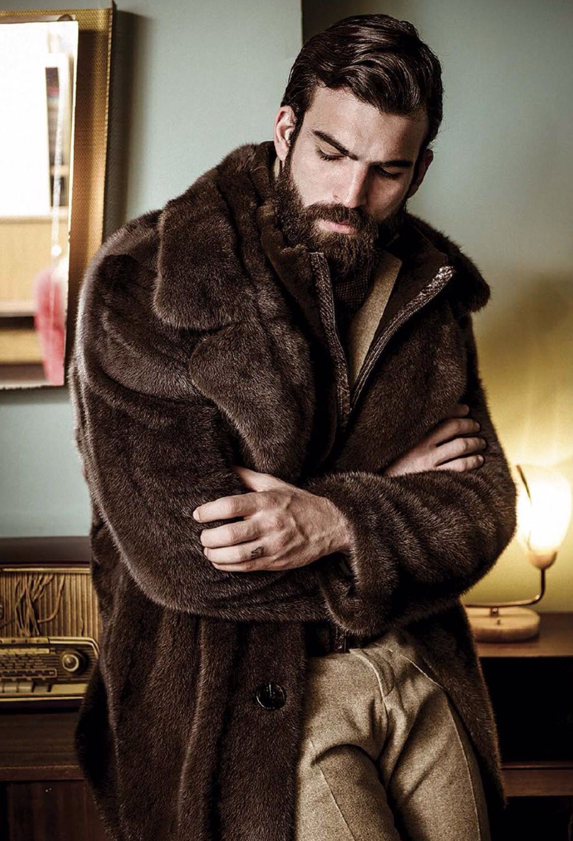Mens jacket lined with fur - Find This Pin And More On Men In Fur Fur Coat With Fur Lining
