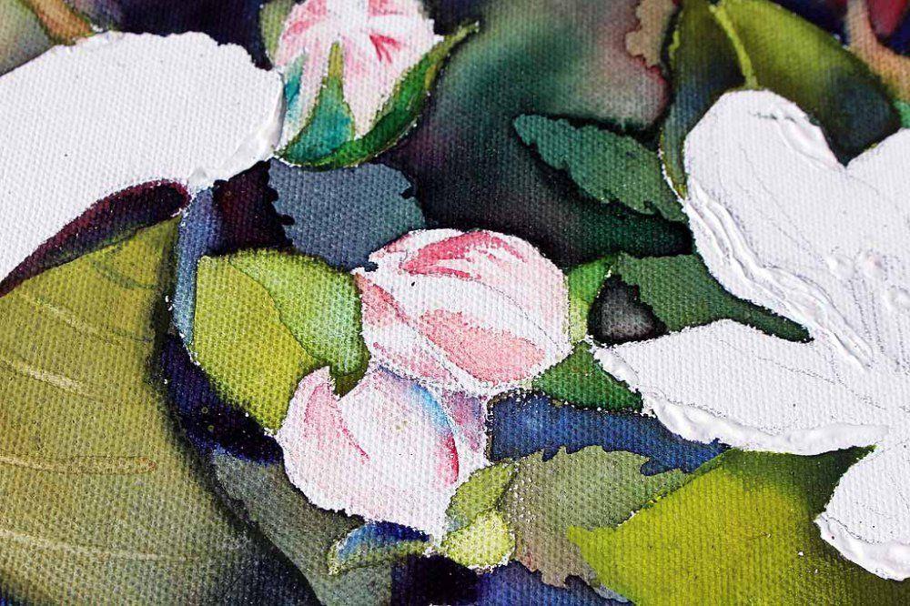 Apfelblüten sind immer wieder eine Pracht (c) Aquarell auf Leinwand von Frank Koebsch | Details der Apfelblüten – Spiel mit Lasuren und Strukturpaste auf Leinwand (c) Frank Koebsch (1)
