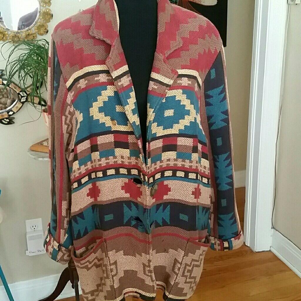 Vtg Tribal Oversized Jacket! Size M!