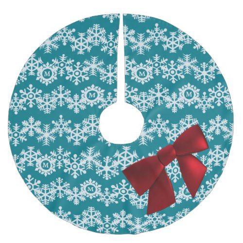 snowflake monogram big red bow teal chevrons brushed polyester tree skirt - Teal Christmas Tree Skirt