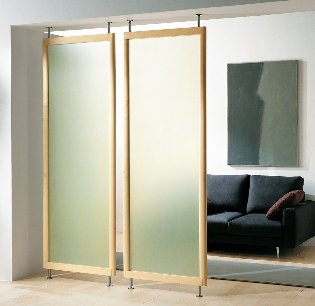 Elegant Two Screen Room Dividers Idea with Frosted Glass in Oak Wood ...