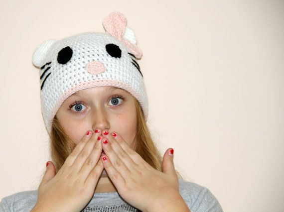 Hallo Kids Hello Kitty Mütze häkeln Kitty von HappyWoollies auf Etsy ...