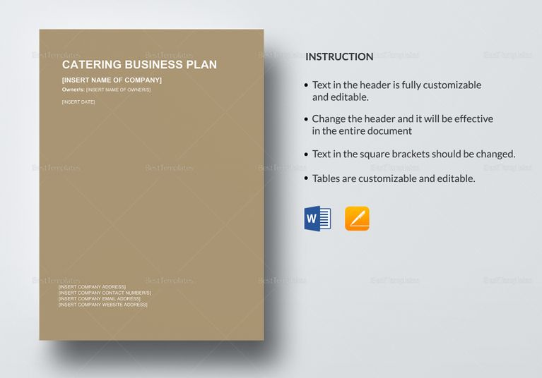 Catering Business Plan Template Plan Templates Pinterest