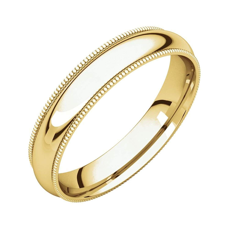 Bonyak Jewelry 14k White Gold 2.5 mm Comfort-Fit Edge Band Size 8.5