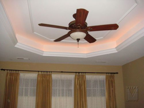 tray ceiling with lighting behind the crown molding our. Black Bedroom Furniture Sets. Home Design Ideas