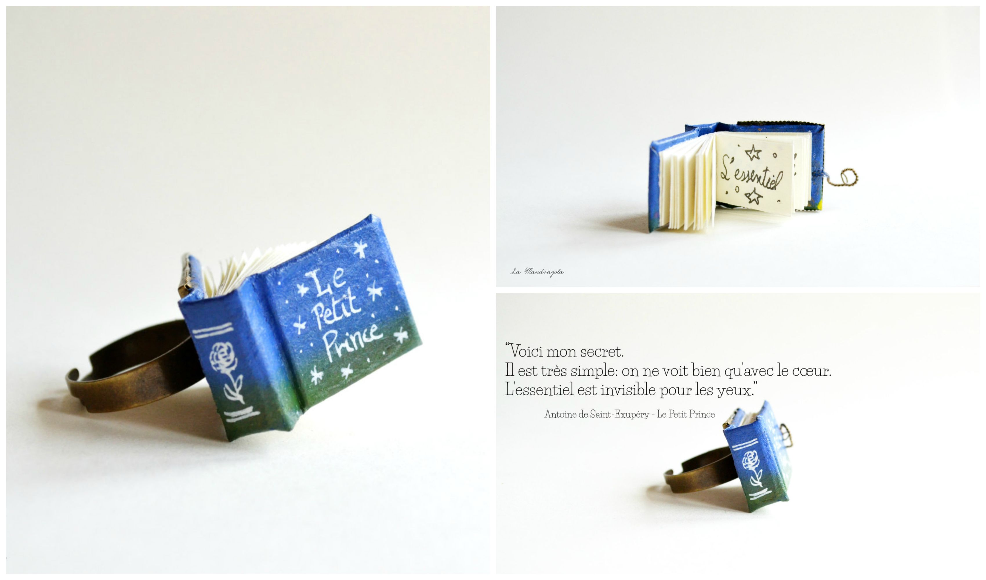 On Ne Voit Bien Qu Avec Le Coeur Saint Exupery The Little Prince Blue Green Miniature Tiny Book Ring With A French Quote Book Accessories Book Jewelry Book Rings