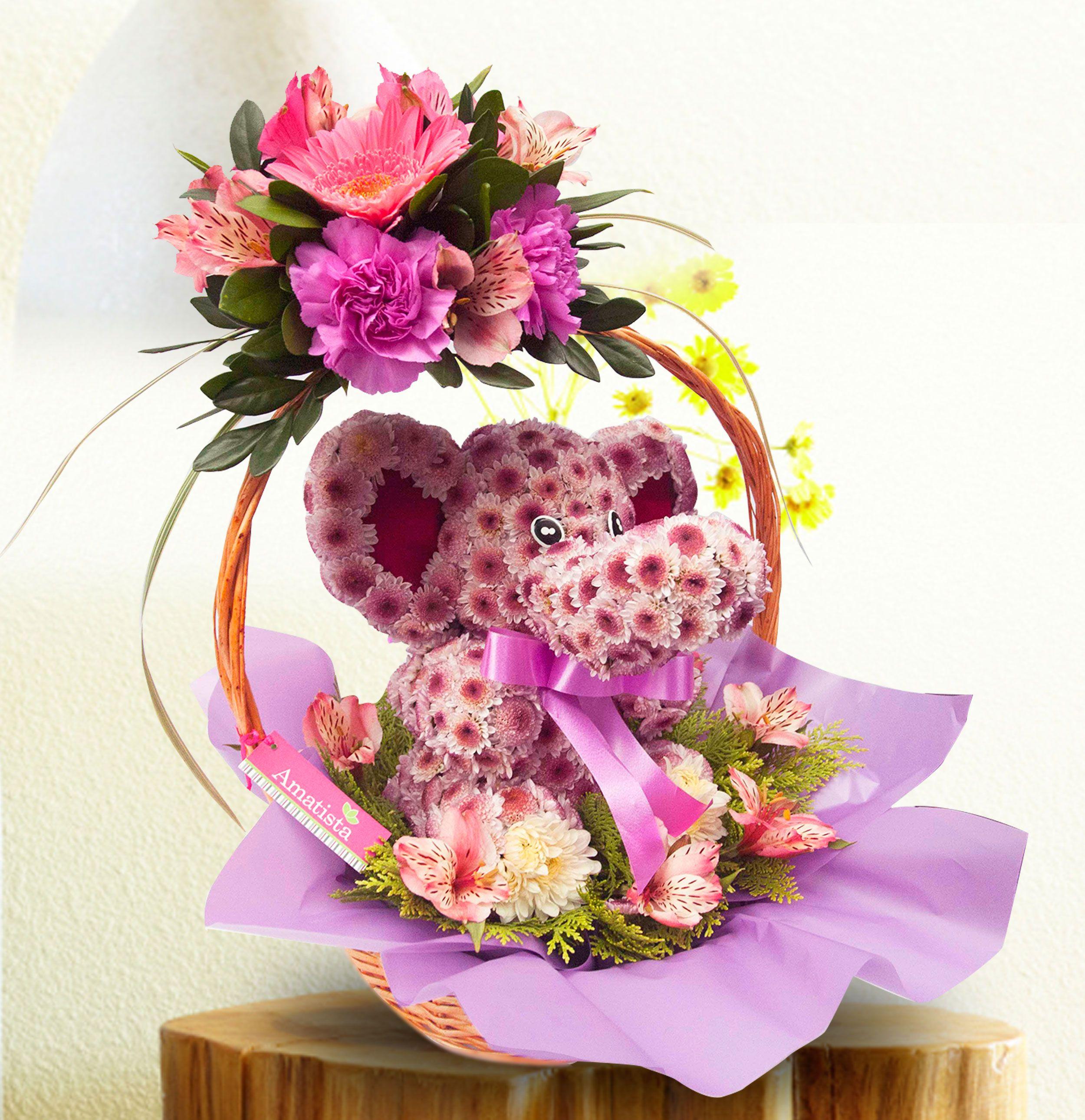 Lindo Mascota Floral Diseño Elefante Con Flores Perfumadas