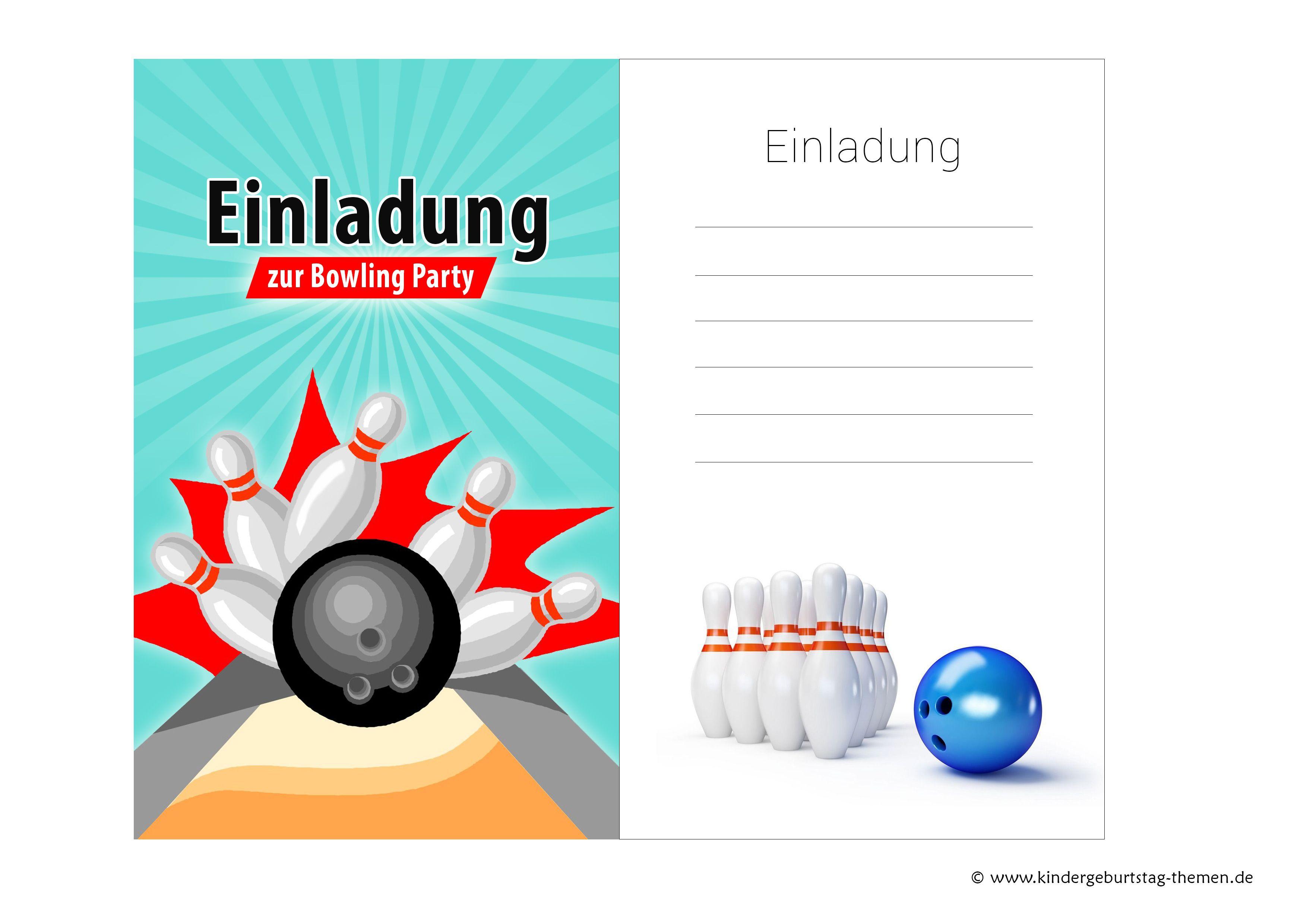 Einladungskarten Geburtstag Zum Ausdrucken: Einladungskarten Bowling Zum Kindergeburtstag Kostenlos