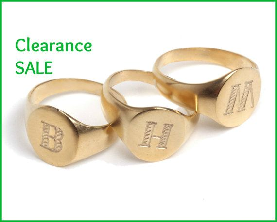 "CLEARANCE SALE Signet ring US Size 6 5 Engraved Letter ""M"