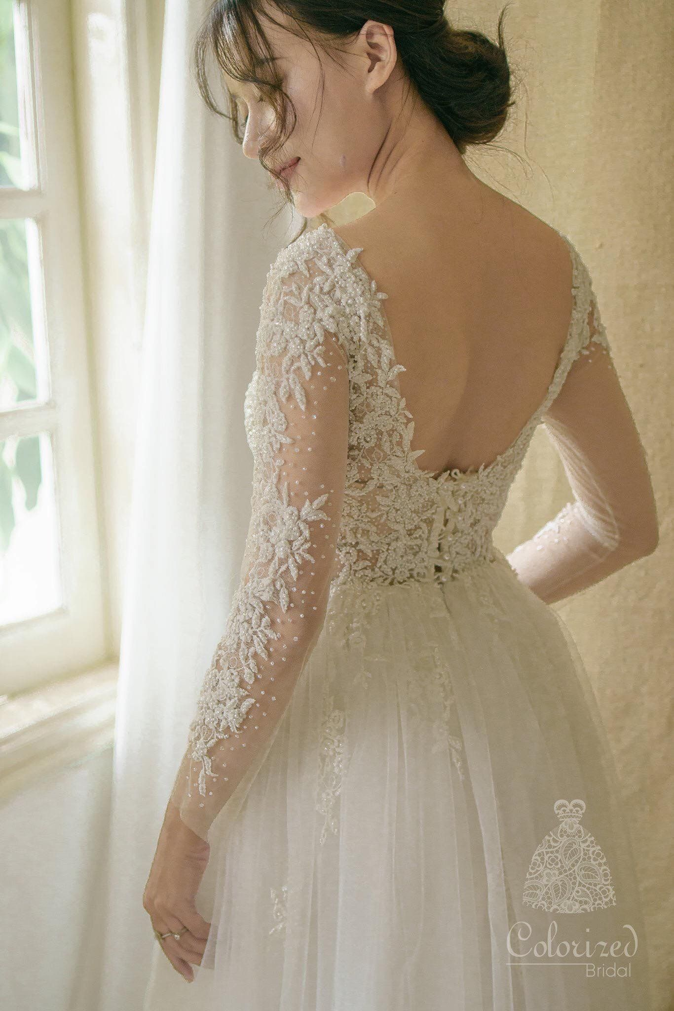 Flowery Lace Wedding Dress With Beadings Www Facebook Com Colorized Shop Dresses Wedding Dresses Lace Wedding Dresses