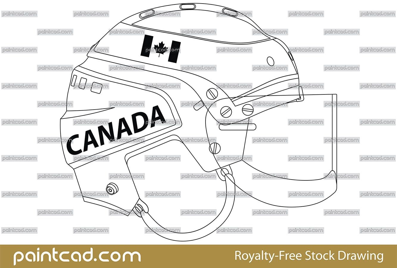 Vector Drawing With Retro Canadian Ice Hockey Helmet Hockey Helmet Ice Hockey Canadian Ice