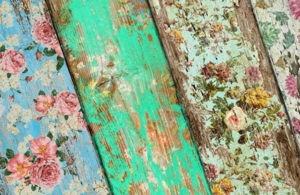Use scrapbook paper and a sander to transform an old piece of diy do it yourself wallpaper rustic scrapbook paper country craft solutioingenieria Images