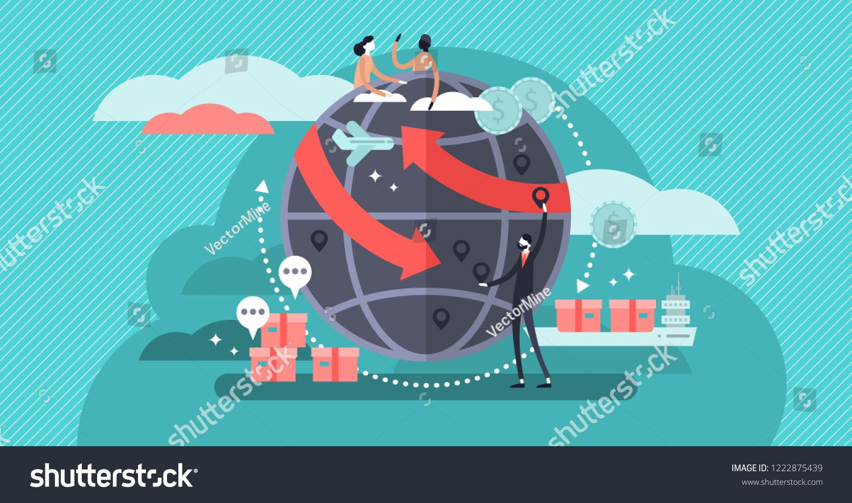 Globalisation flat vector illustration, people around the globe