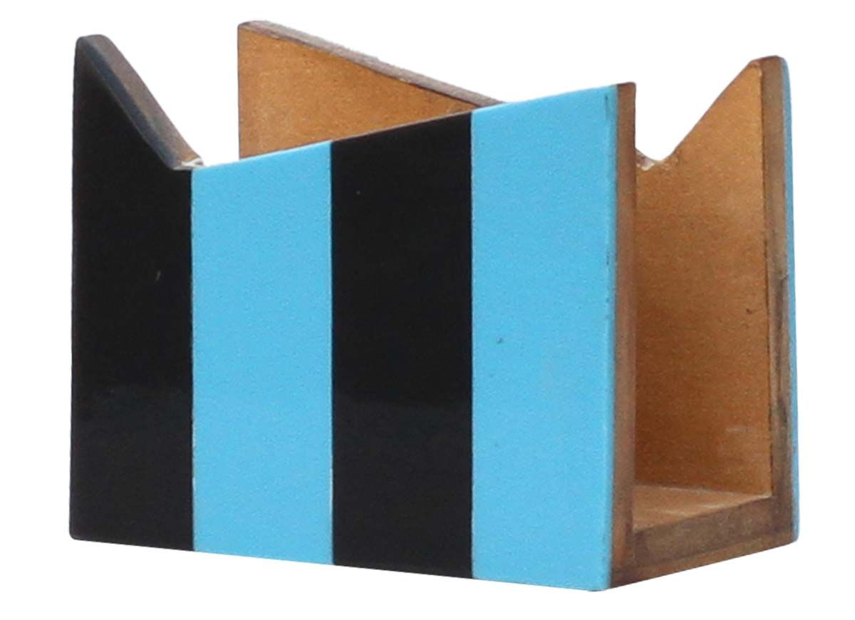 Bulk Wholesale Handmade Wooden Napkin Holder Stand In Black Blue Striped Pattern Dining Table Ki Dining Table Accessories Napkin Holder Handmade Wooden
