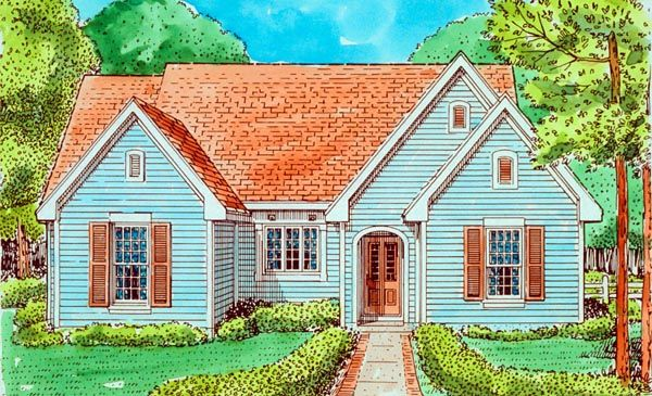 Country Style House Plan Number 95591 With 2 Bed, 1 Bath
