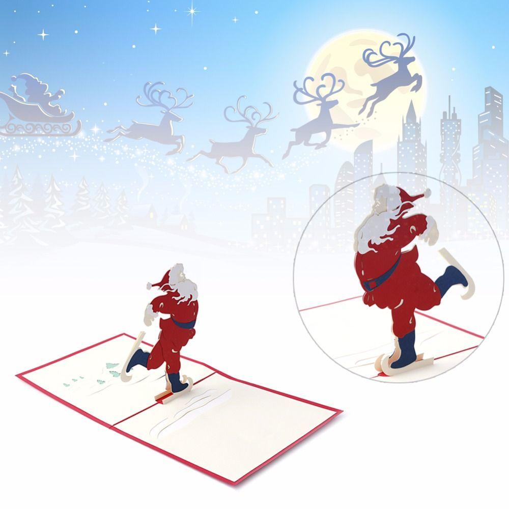 D stereoscopic holiday greeting cards santa claus christmas