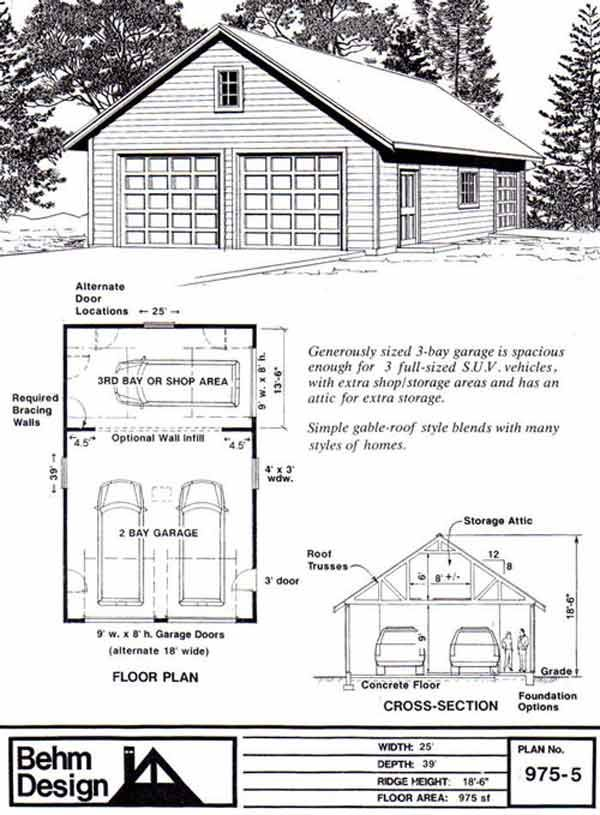 Attic Truss Roof 2 Car Garage Shop Plan 9755 by Behm Design – 3Rd Car Garage Addition Plans