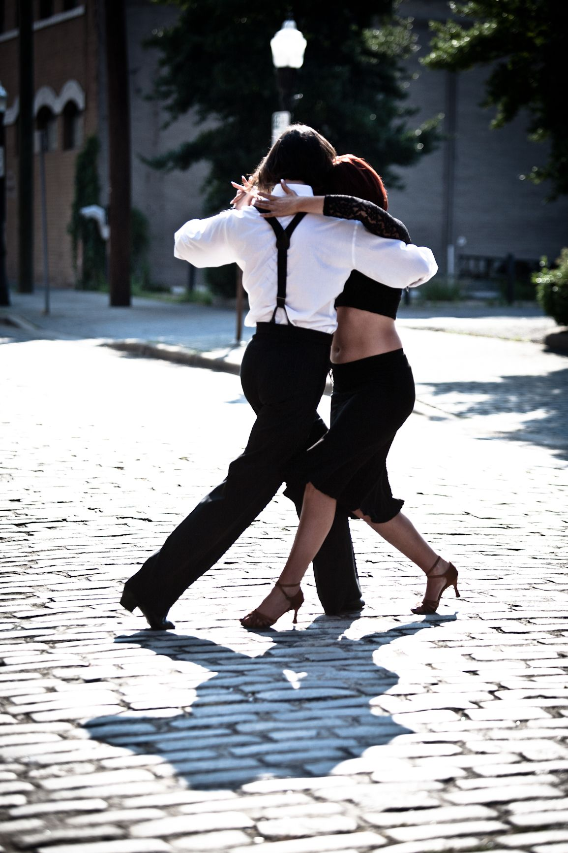 In the street during the Tango.