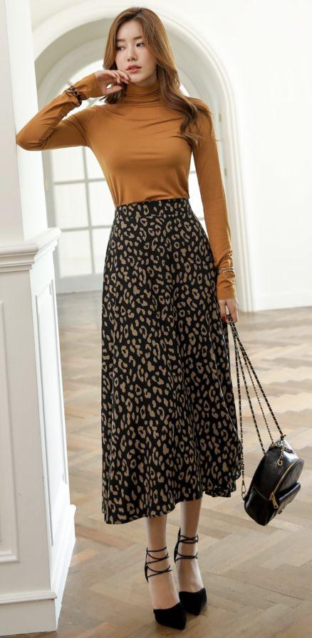 Leopard Print Flared Long Skirt
