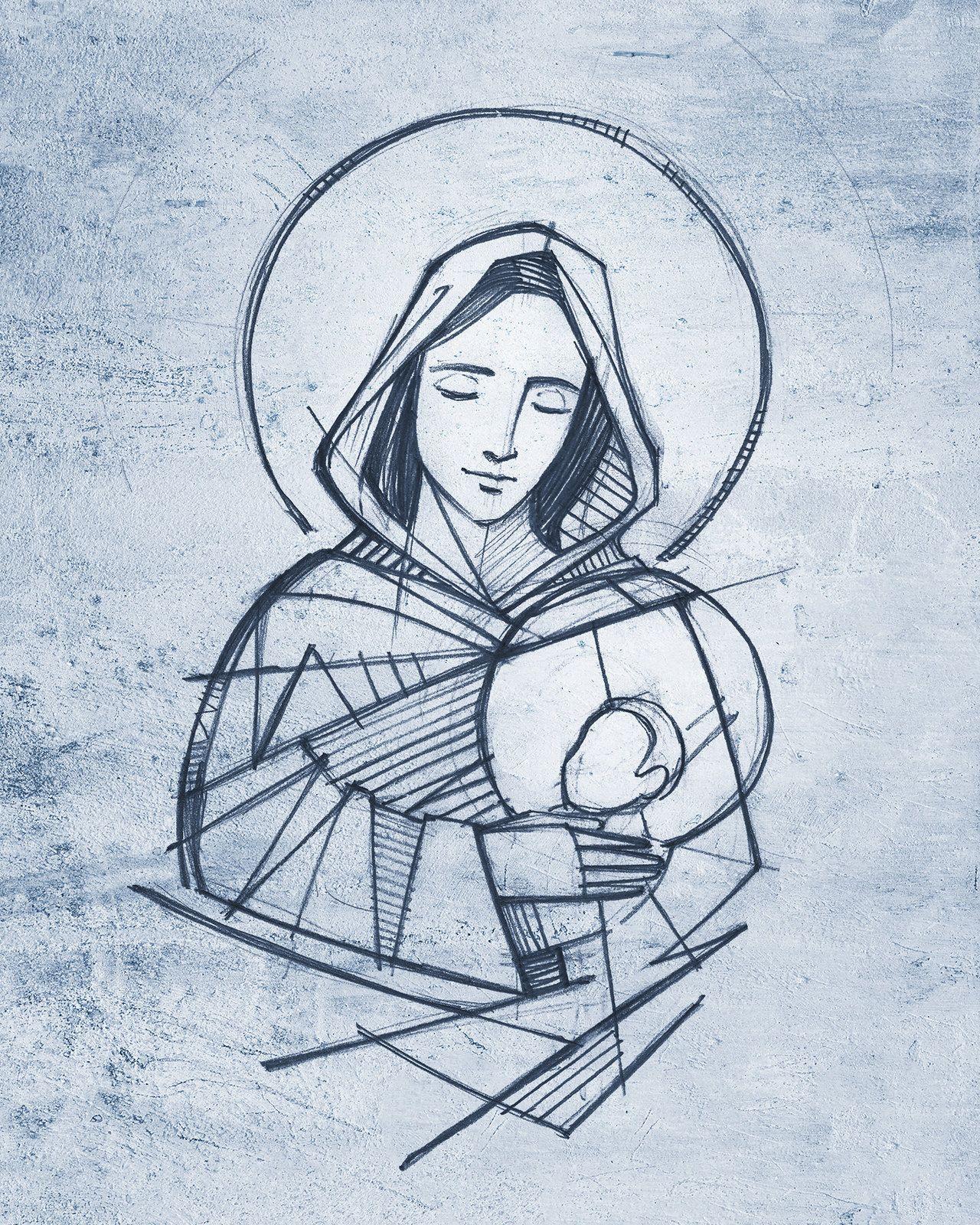 Virgin Mary And Baby Jesus Hand Drawn Pencil Illustration Jesus Art Drawing Jesus Drawings Jesus Art