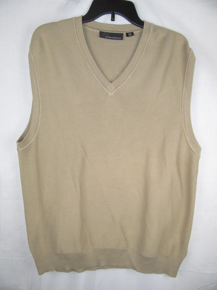 Greg Norman Golf Sweater Vest Pullover V-neck Tan Size Large 100 ...