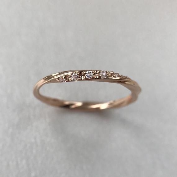 Wedding Band Women, Unique Diamond Eternity Curved Wedding Band, Diamond Ring, Dainty 14K White Gold Stackable Ring, Delicate Stacking Ring
